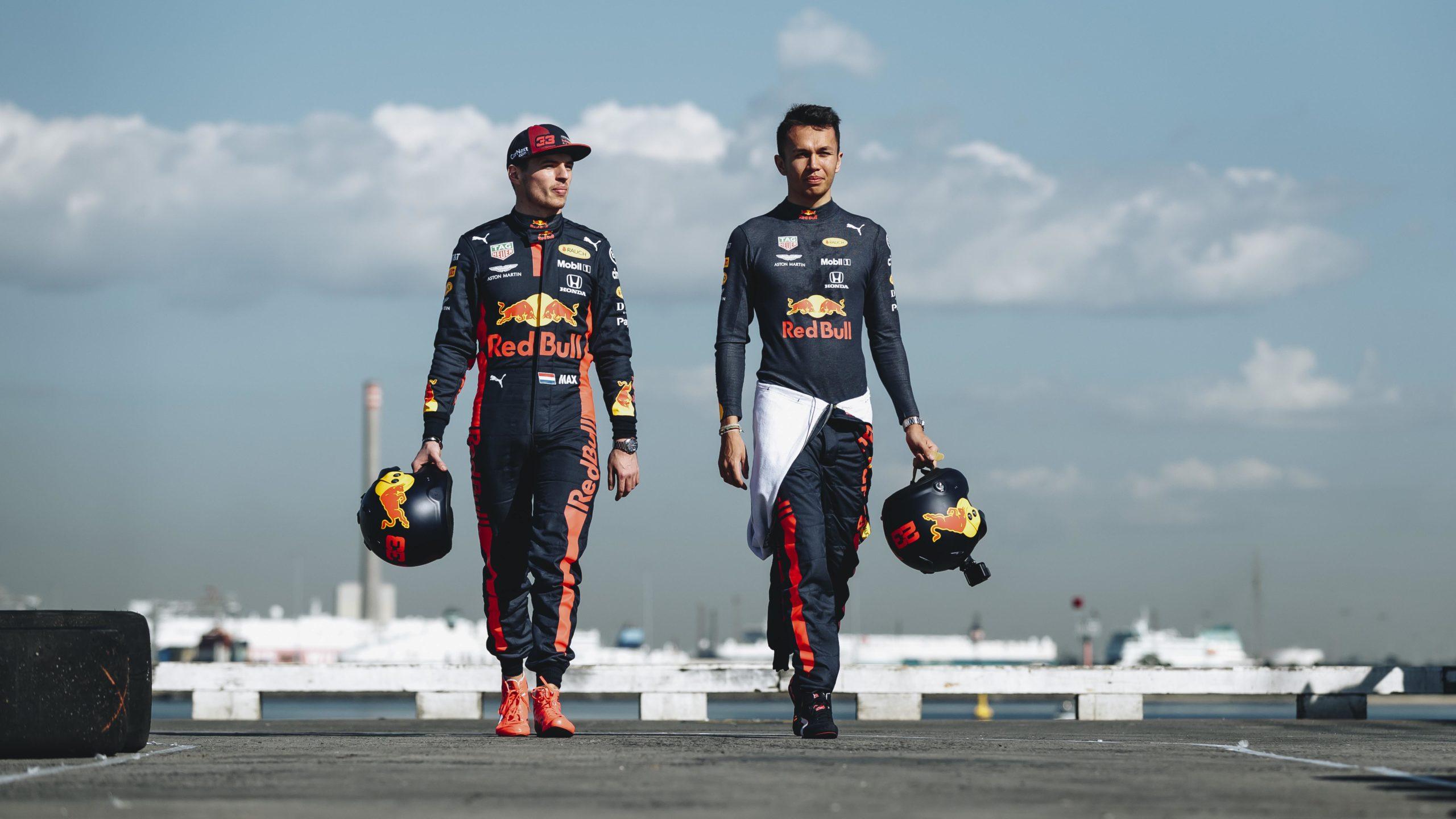 Alexander Albon and Max Verstappen