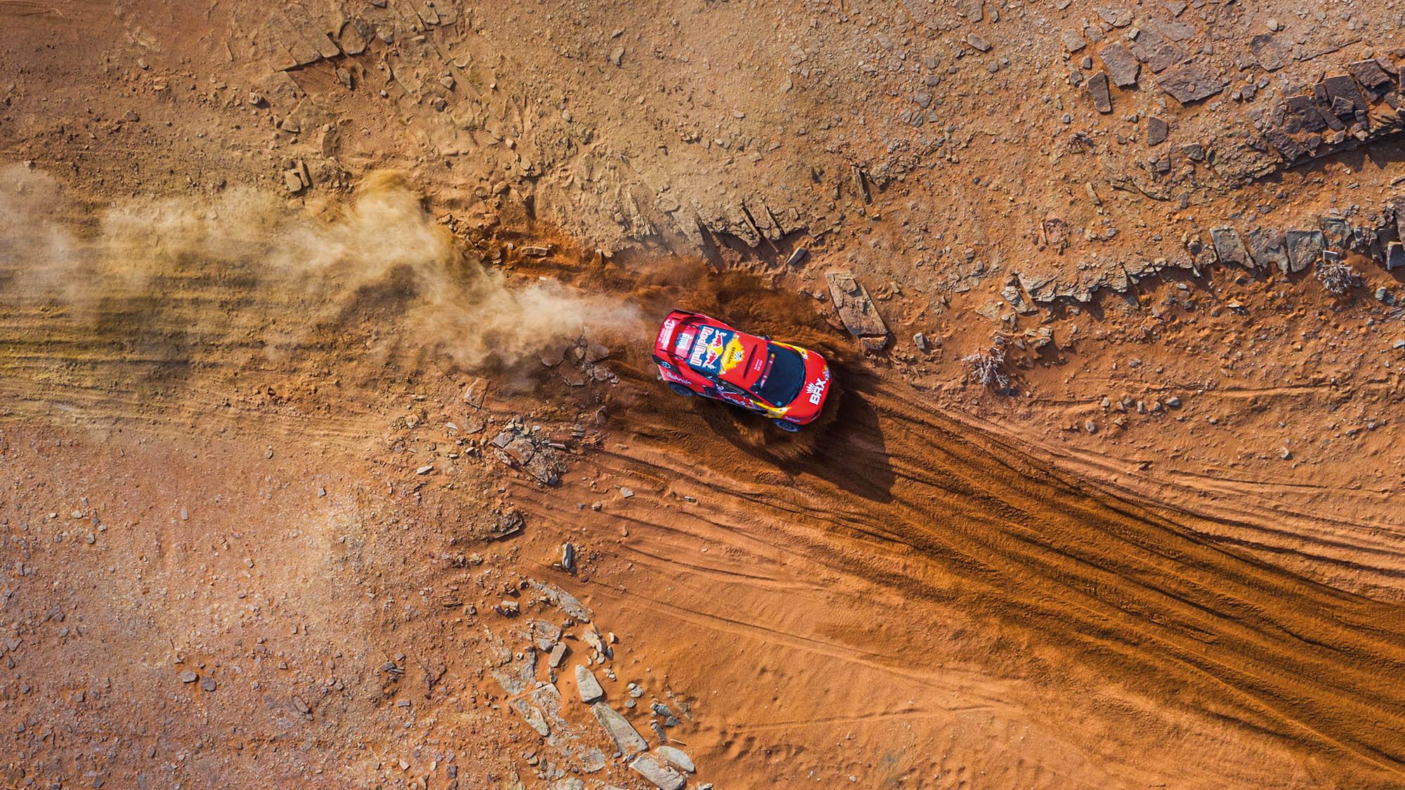 Overhead shot of BRX of Sebastien Loeb on the 2021 Dakar