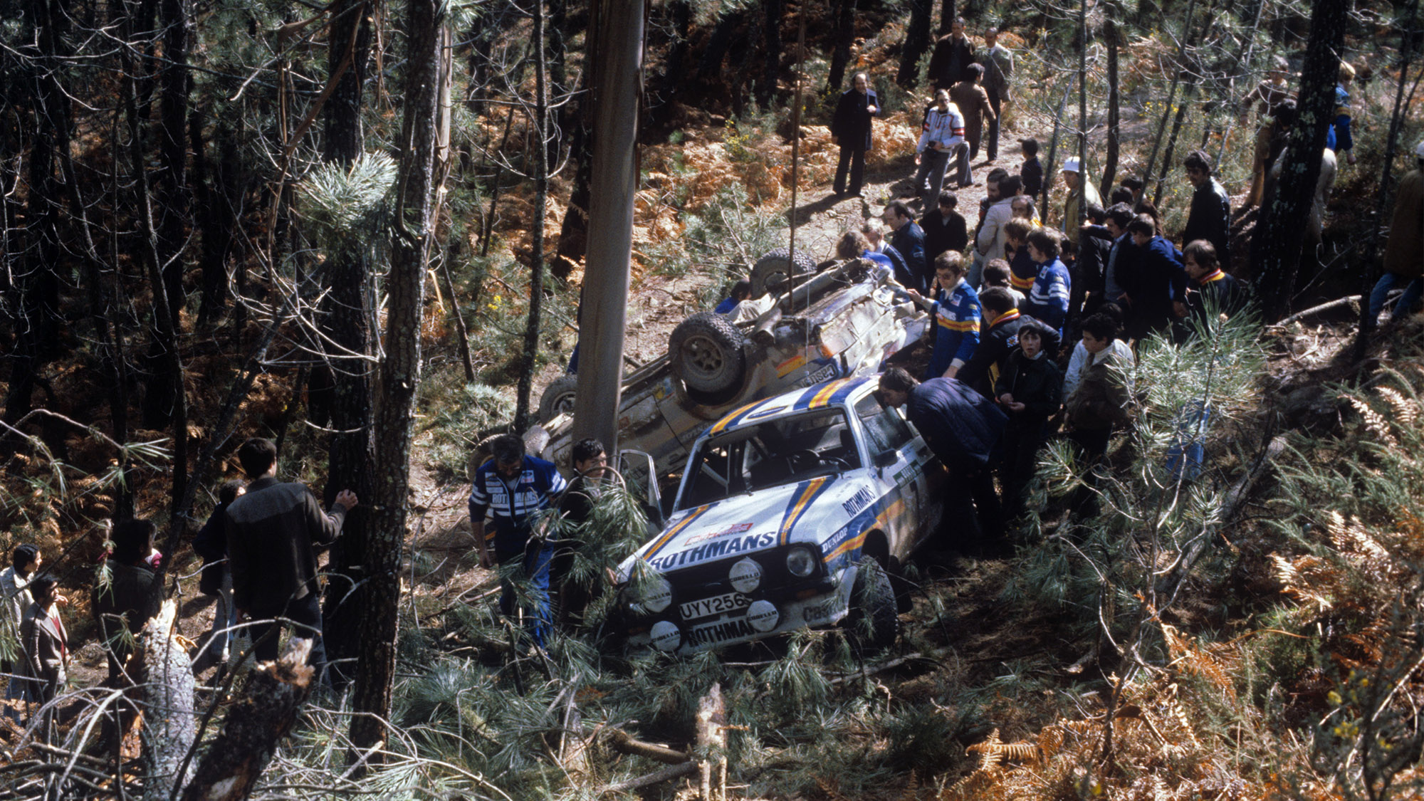 Hannu Mikkola and Ari Vatanen crashed out of the 1980 Portugal Rally