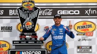 Kyle Larson scores first win since return from NASCAR suspension