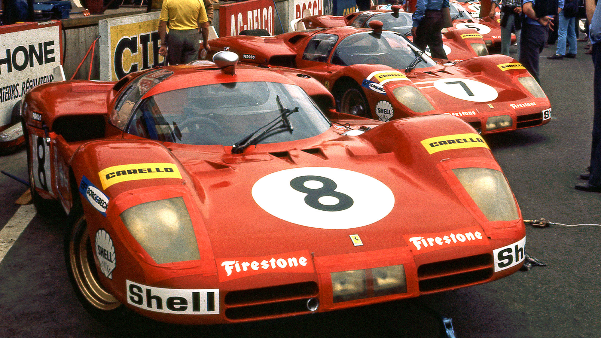 1970 Ferrari 512Ss in the Pits at Apron, Le Mans 24 Hours. (Photo by: GP Library/Universal Images Group via Getty Images)