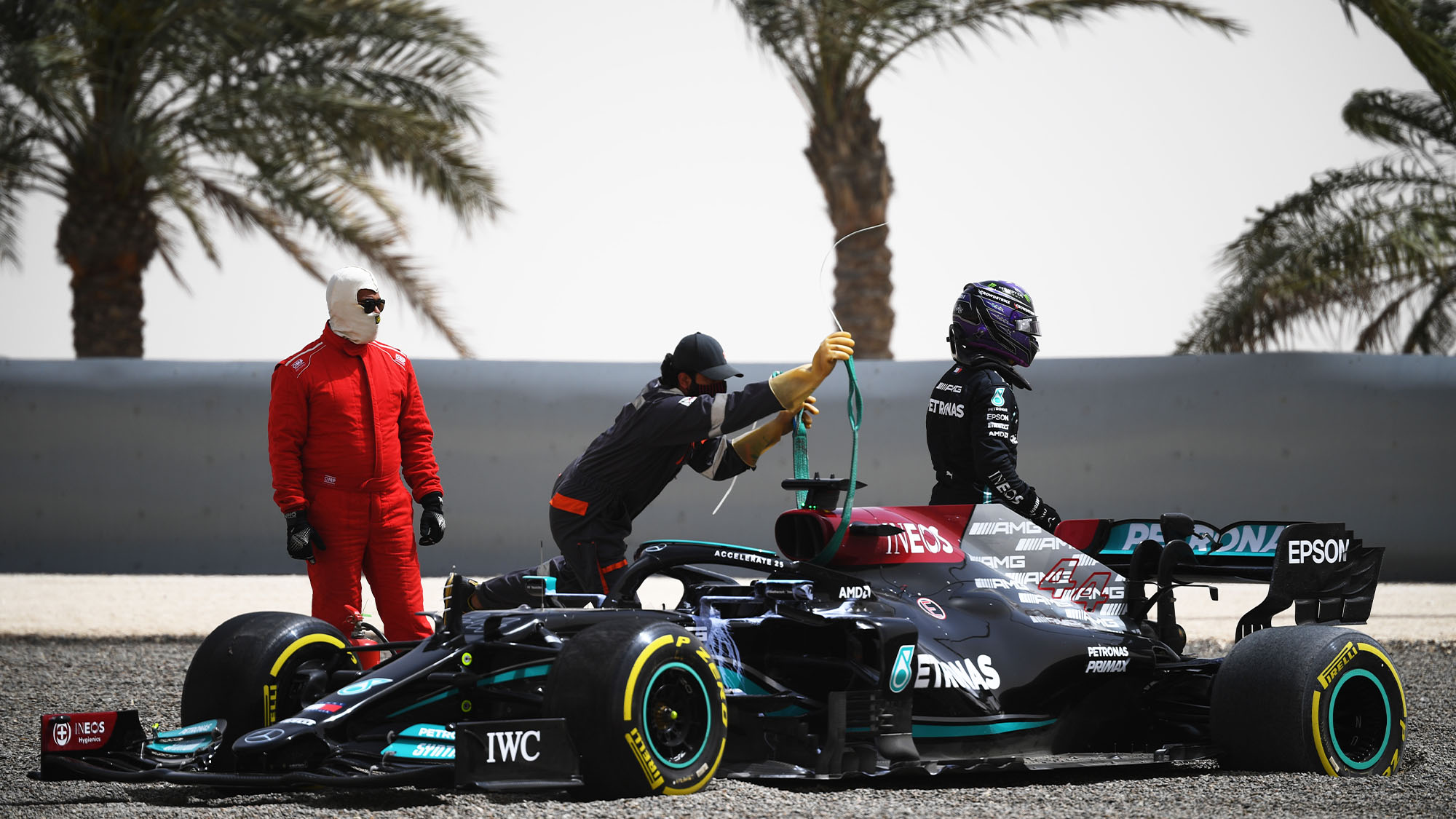 BAHRAIN, BAHRAIN - MARCH 13: Lewis Hamilton of Great Britain and Mercedes GP looks dejected after stopping on track during Day Two of F1 Testing at Bahrain International Circuit on March 13, 2021 in Bahrain, Bahrain. (Photo by Clive Mason/Getty Images)