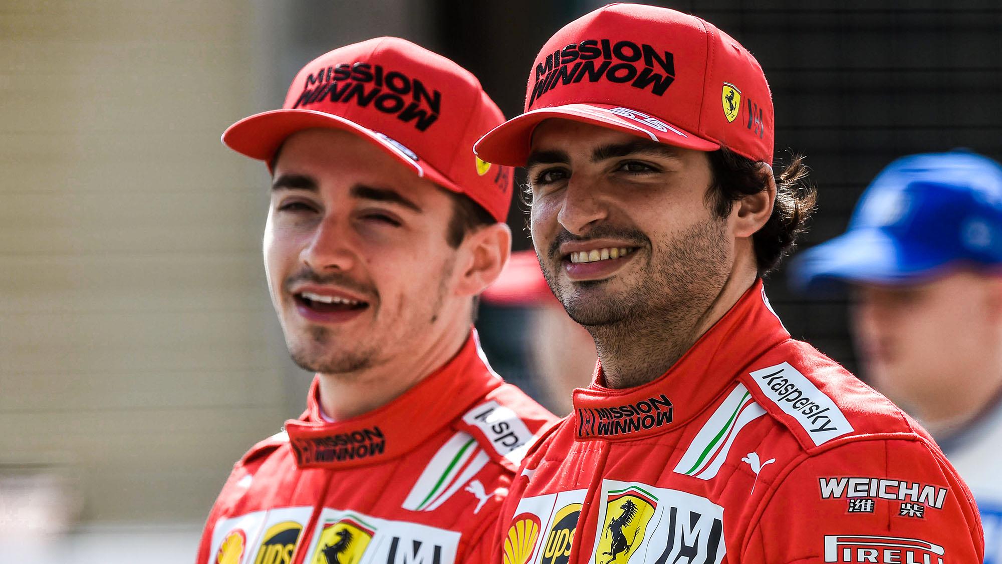 Charles Leclerc and Carlos Sainz in preseason testing