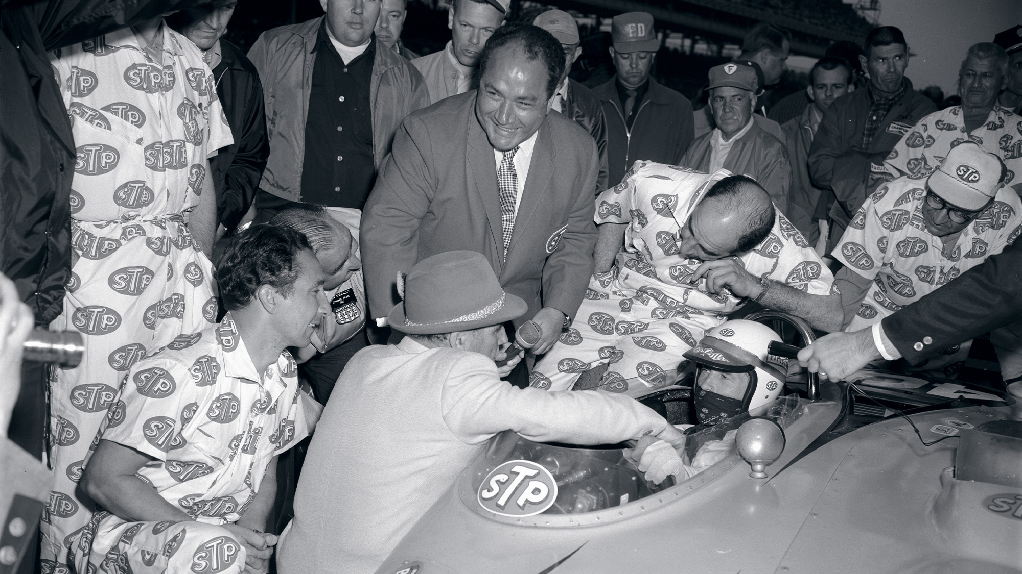 Andy Granatelli with Parnelli Jones in turbine car at the 1967 Indy 500