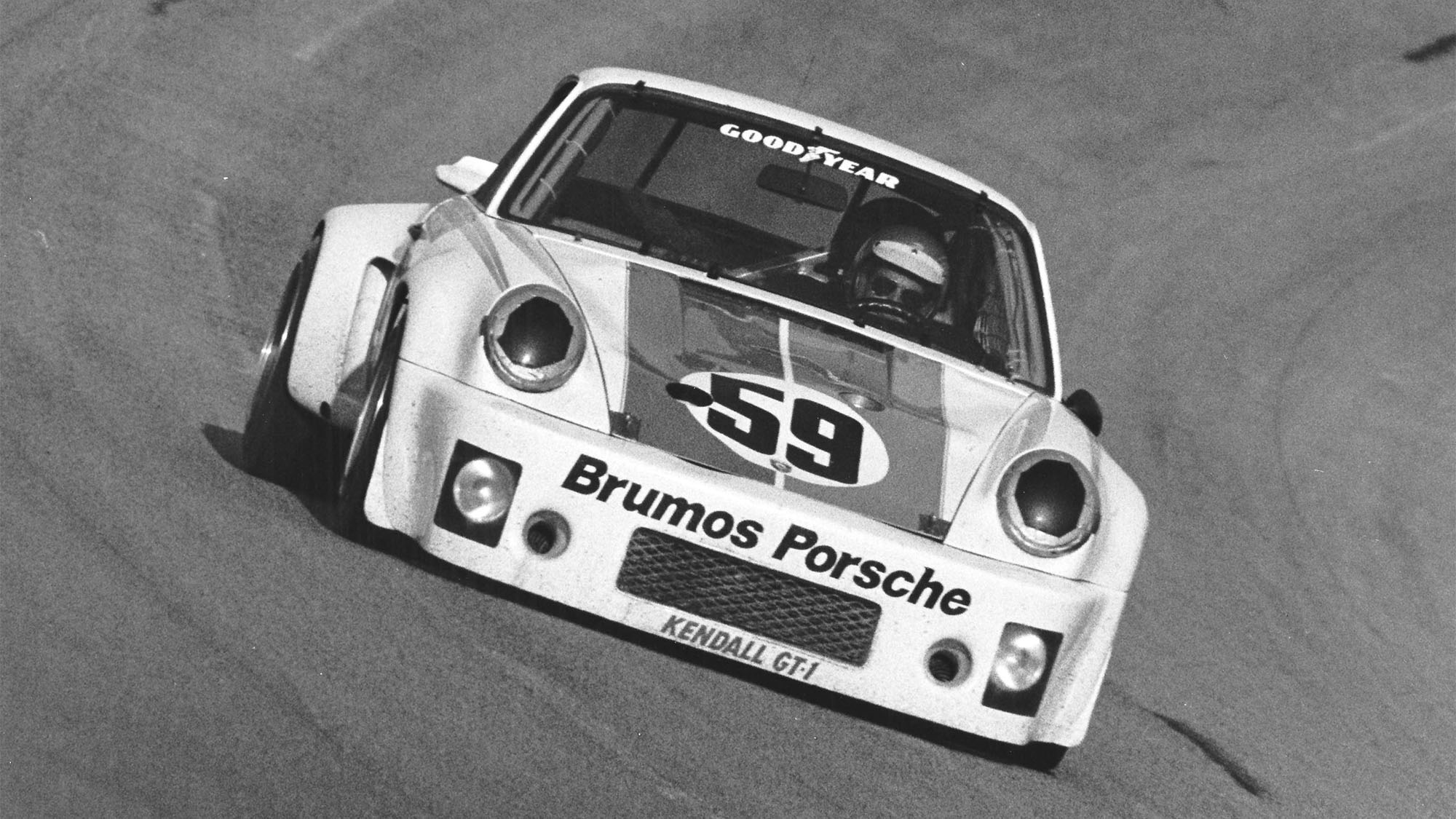 DAYTONA BEACH, FL — February 1-2, 1975: This Brumos Racing Porsche 911 Carrera RSR driven by Peter Gregg and Hurley Haywood took the victory in the 24 Hours of Daytona at Daytona International Speedway. The team completed 684 laps and were 15 circuits ahead of the second place car. (Photo by ISC Images & Archives via Getty Images)