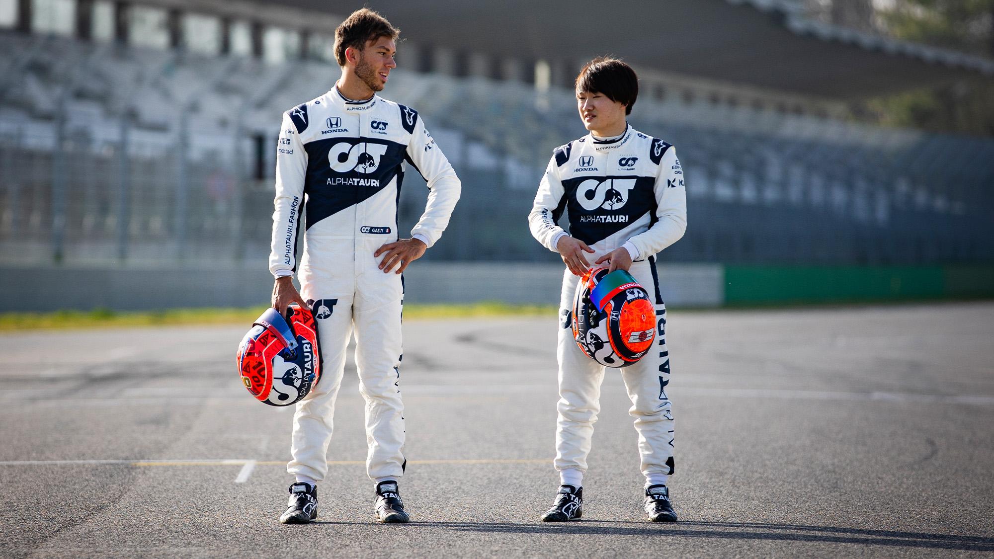 Pierre Gasly and Yuki Tsunoda ahead of the 2021 F1 season