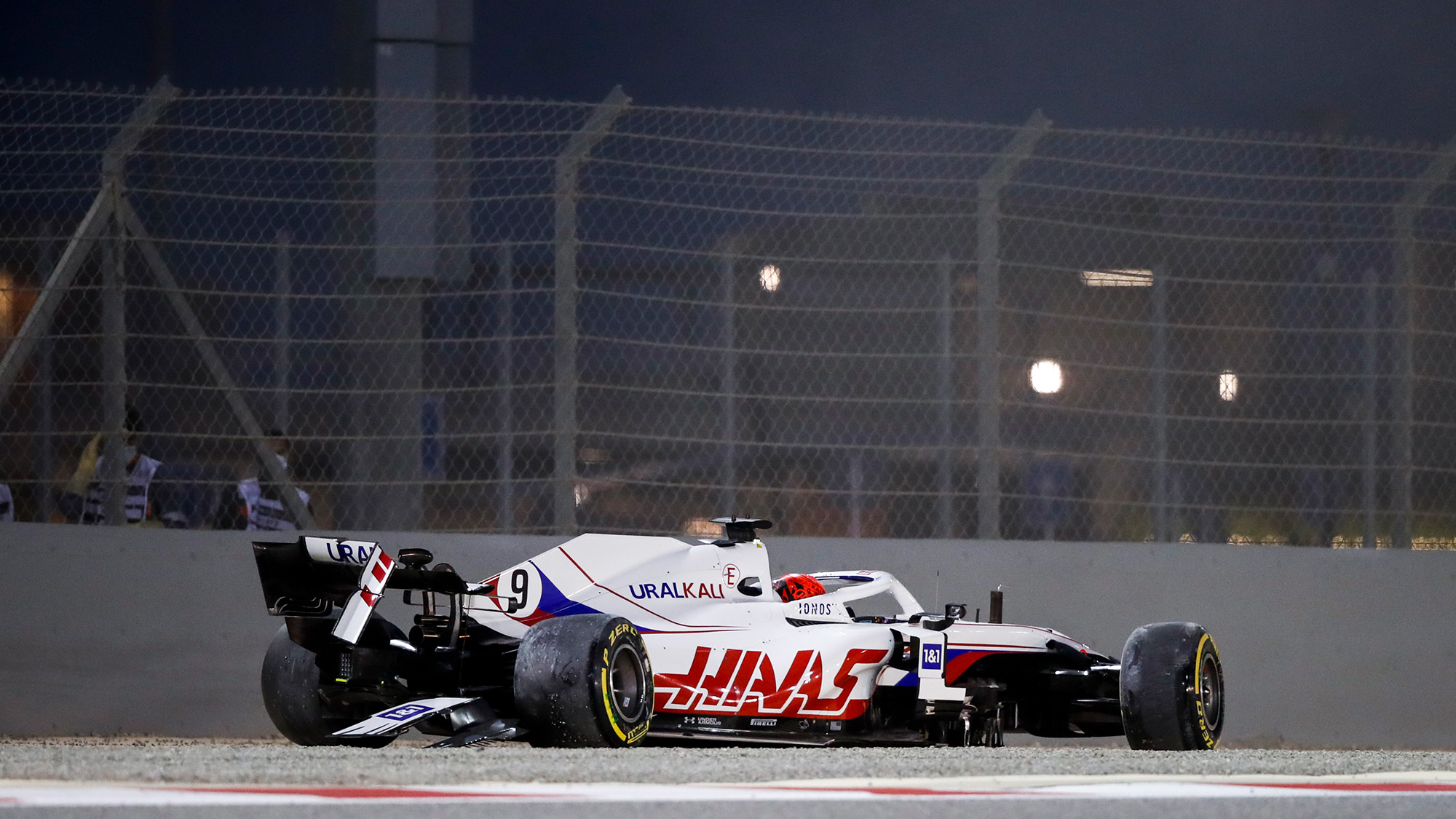 Haas of Nikita Mazepin after crashing at the start of the 2021 Bahrain Grand Prix