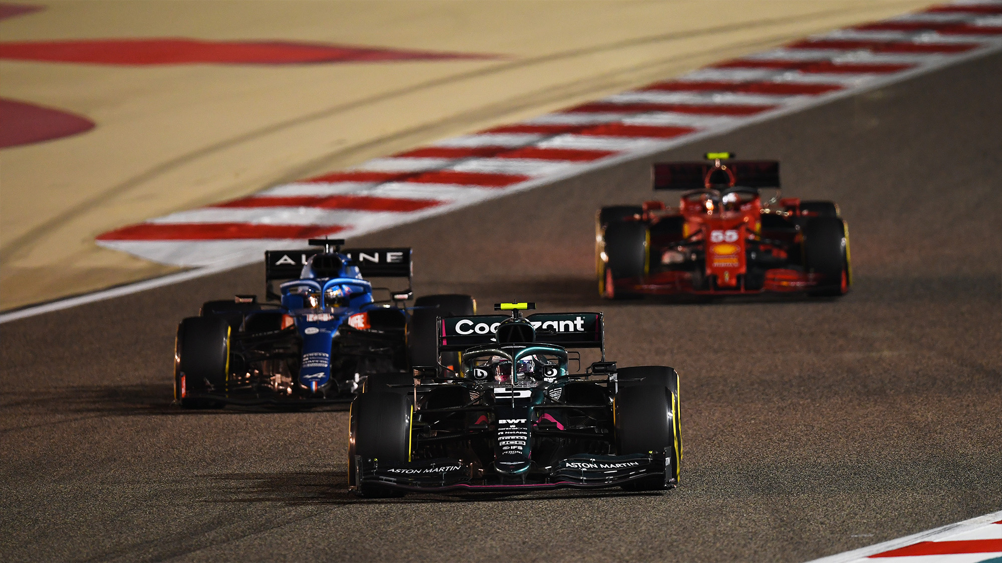 Sebastian Vettel Fernando Alonso and Carlos Sainz in the 2021 Bahrain Grand Prix