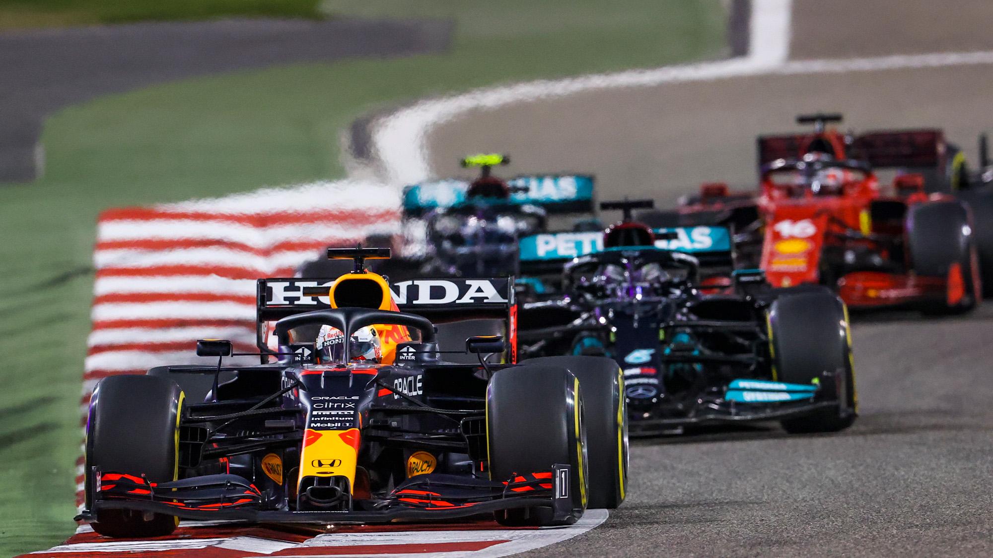 Max Verstappen leads Lewis Hamilton and Valtteri Bottas in the 2021 Bahrain Grand Prix