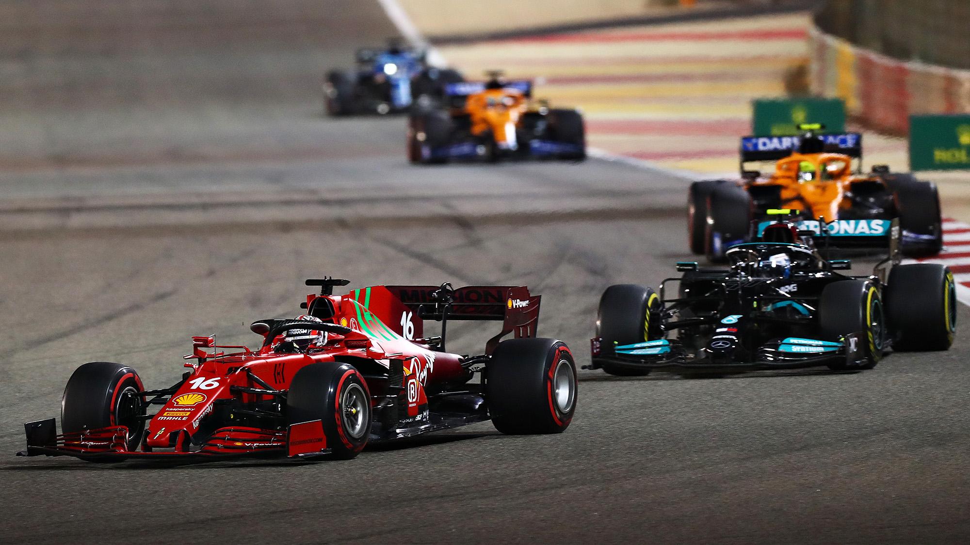 Valtteri Bottas follows Charles Leclerc at the start of the 2021 Bahrain Grand Prix
