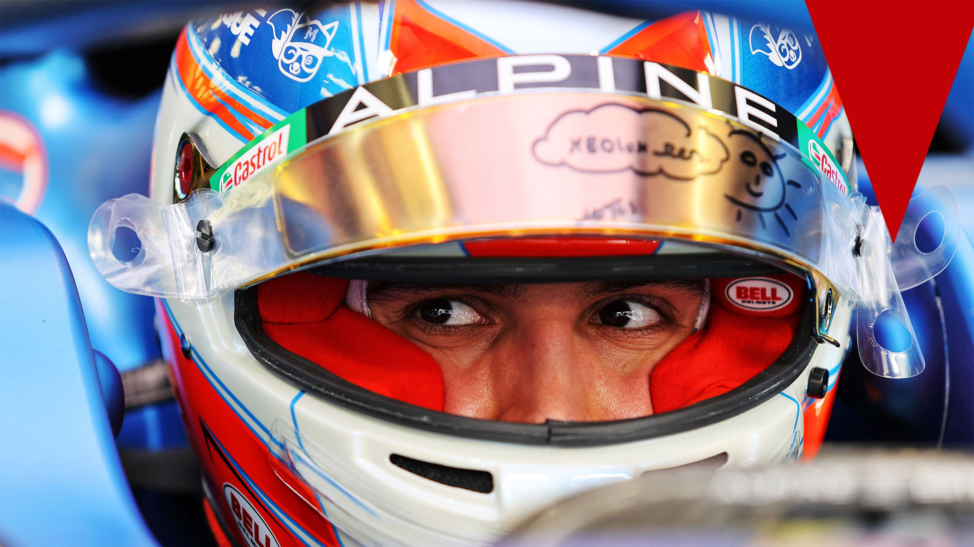 Esteban Ocon (Alpine-Renault) with his helmet on before the 2021 Bahrain Grand Prix. Photo: © Copyright: FIA Pool Image via Grand Prix Photo - for Editorial Use Only