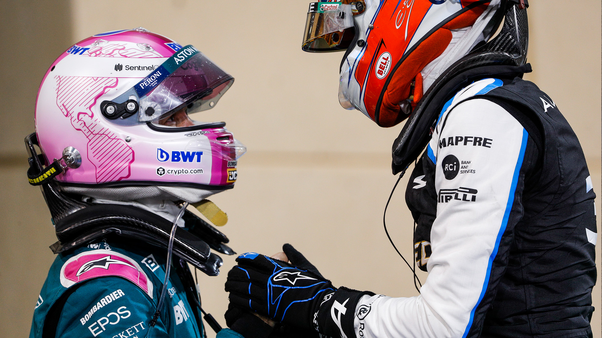 Sebastian Vettel with Esteban Ocon at the 2021 Bahrain Grand Prix