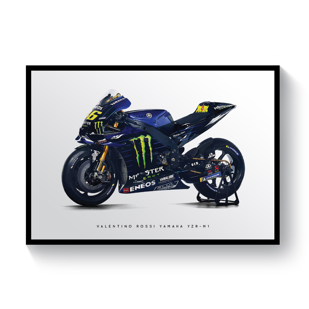 Product image for Valentino Rossi's Yamaha YZR-M1 Bike| MotoGP | Pit lane Prints | Art Print