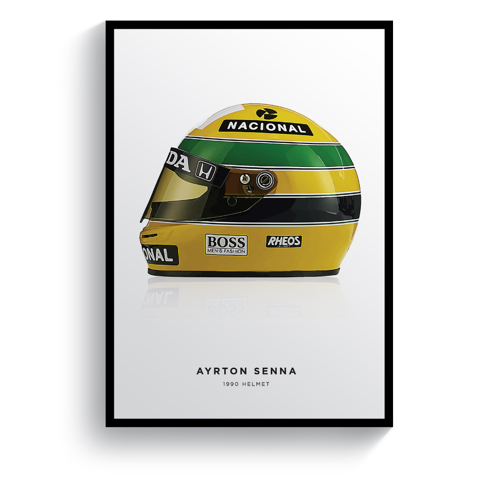 Product image for Ayrton Senna | 1990 Helmet | Pit Lane Prints | Art Print