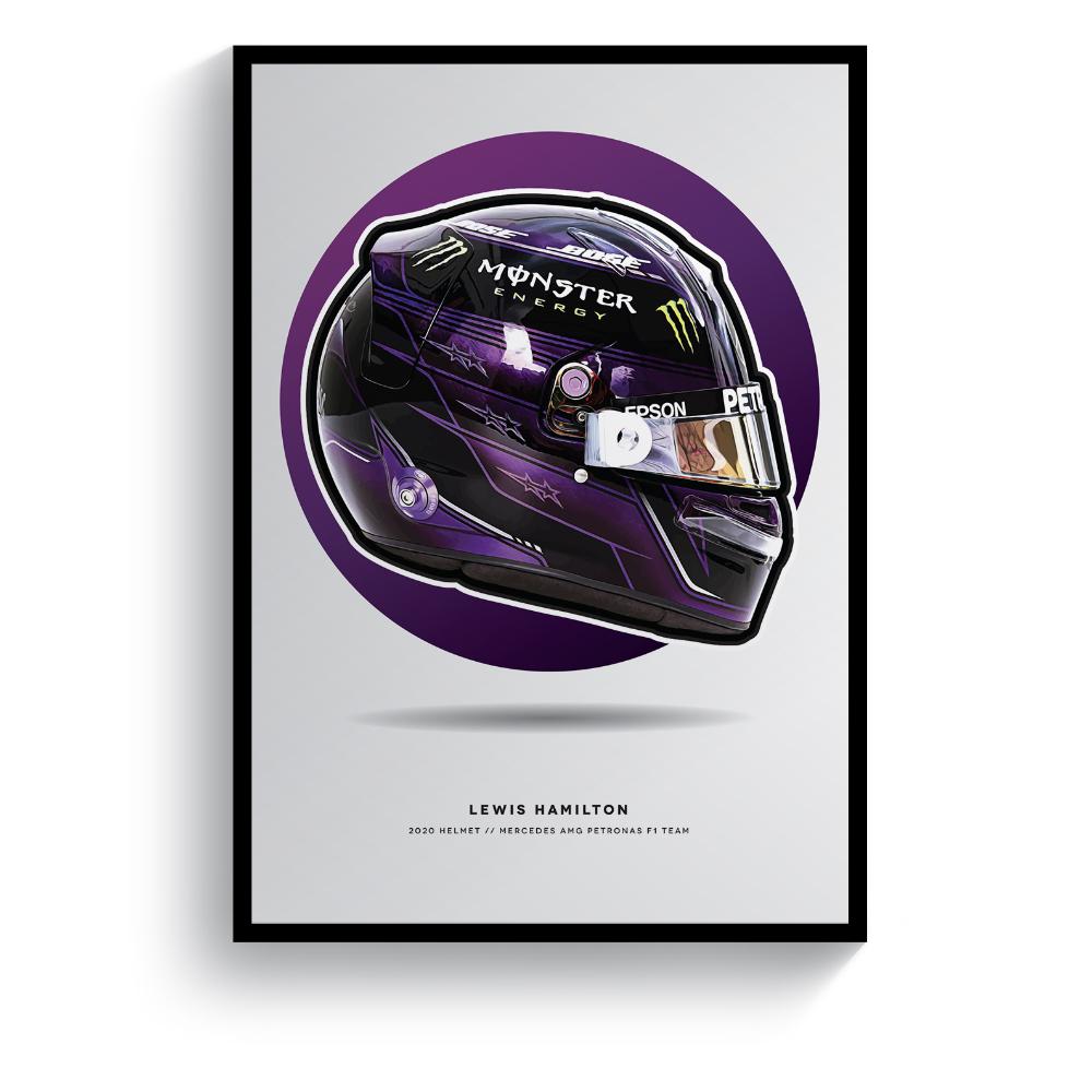 Product image for Lewis Hamilton | 2020 Helmet | Pit Lane Prints | Art Print