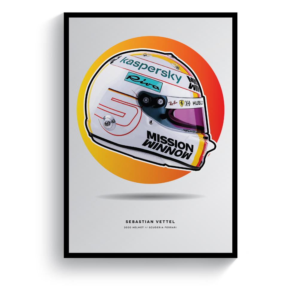 Product image for Sebastian Vettel | 2020 Helmet | Pit Lane Prints | Art Print