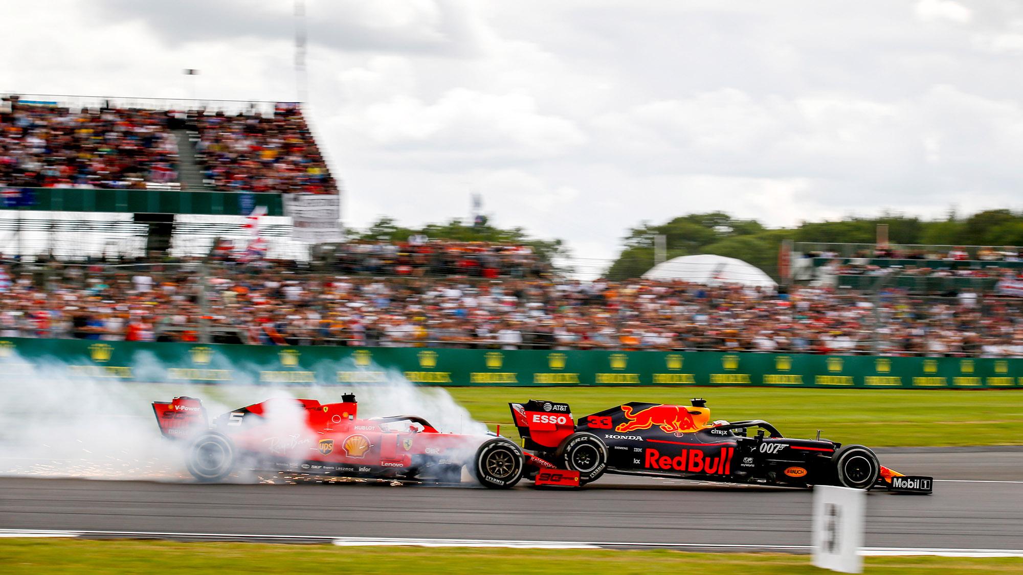 Sebastian Vettel hits Max Verstappen at the 2019 British Grand Prix