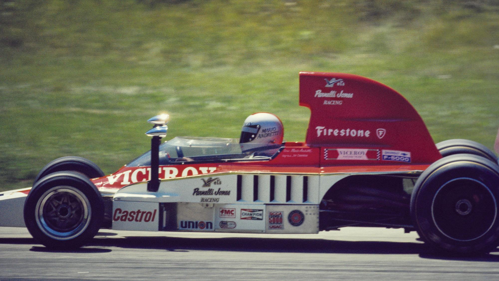Mario Andretti in Parnelli Jones Racing F5000 car in 1975