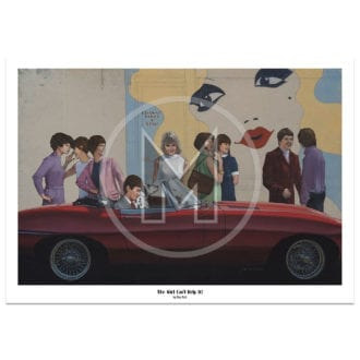 Product image for A girl can't help it! | Jaguar E-Type Roadster | 1967 Kings Road London | Roy Putt | Art Print