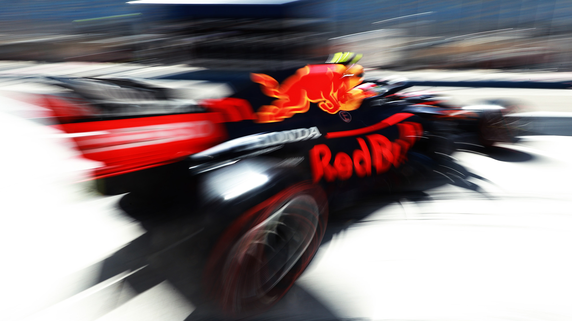 Blurred picture of Sergio Perez Red Bull at the 2021 Bahrain Grand Prix