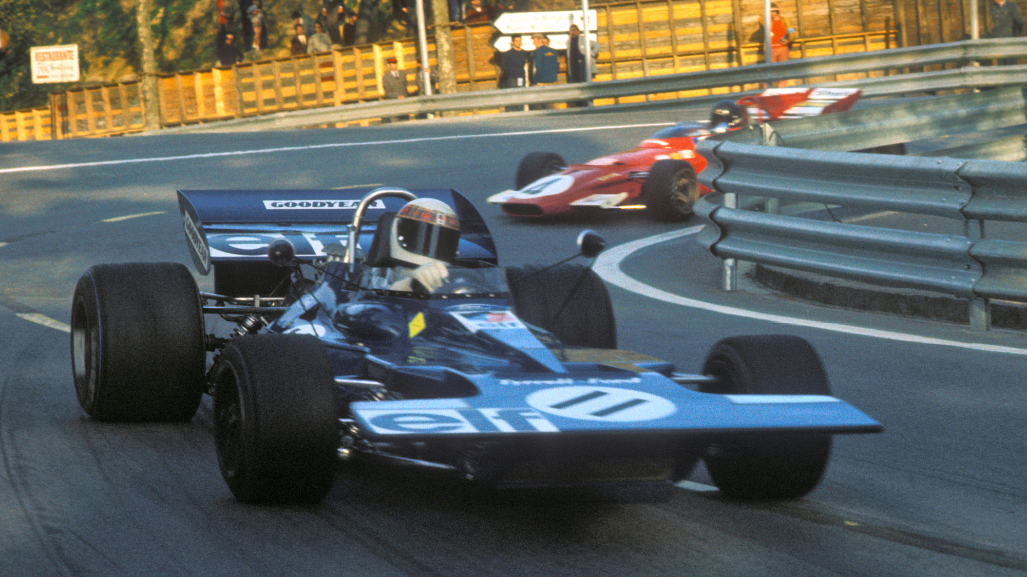Jackie Stewart leads for Tyrrell at the 1971 Spanish Grand Prix