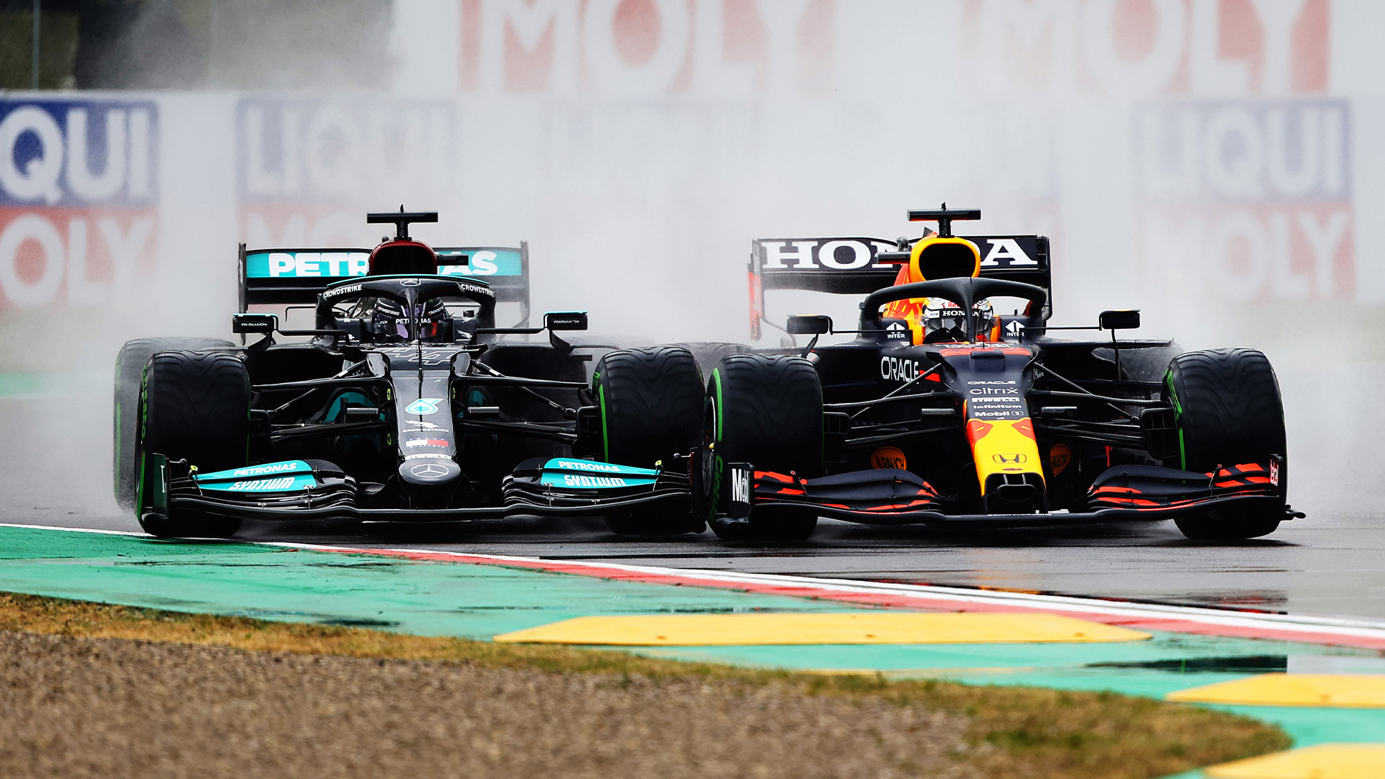 Max Verstappen pushed Lewis Hamilton onto the kerb at the start of the 2021 Emilia Romagna Grand Prix