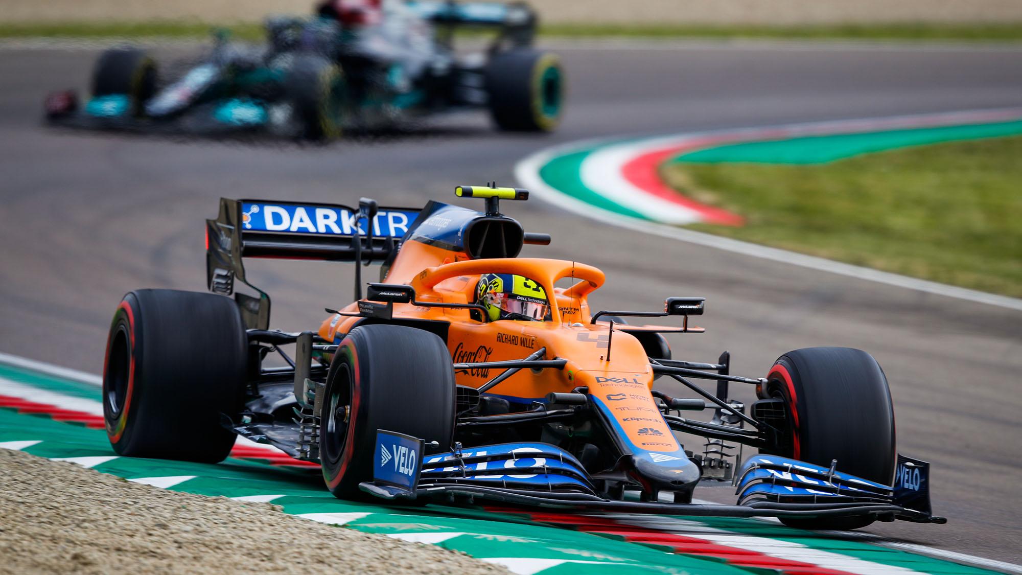 Lando Norris ahead of Lewis Hamilton in the 2021 Emilia Romagna Grand Prix