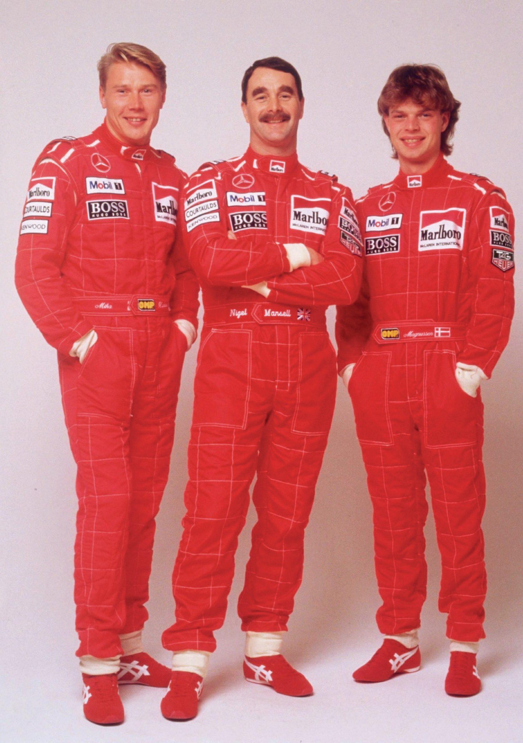 McLaren drivers Mika Hakkinen Nigel Mansell and Jan Magnussen in 1995