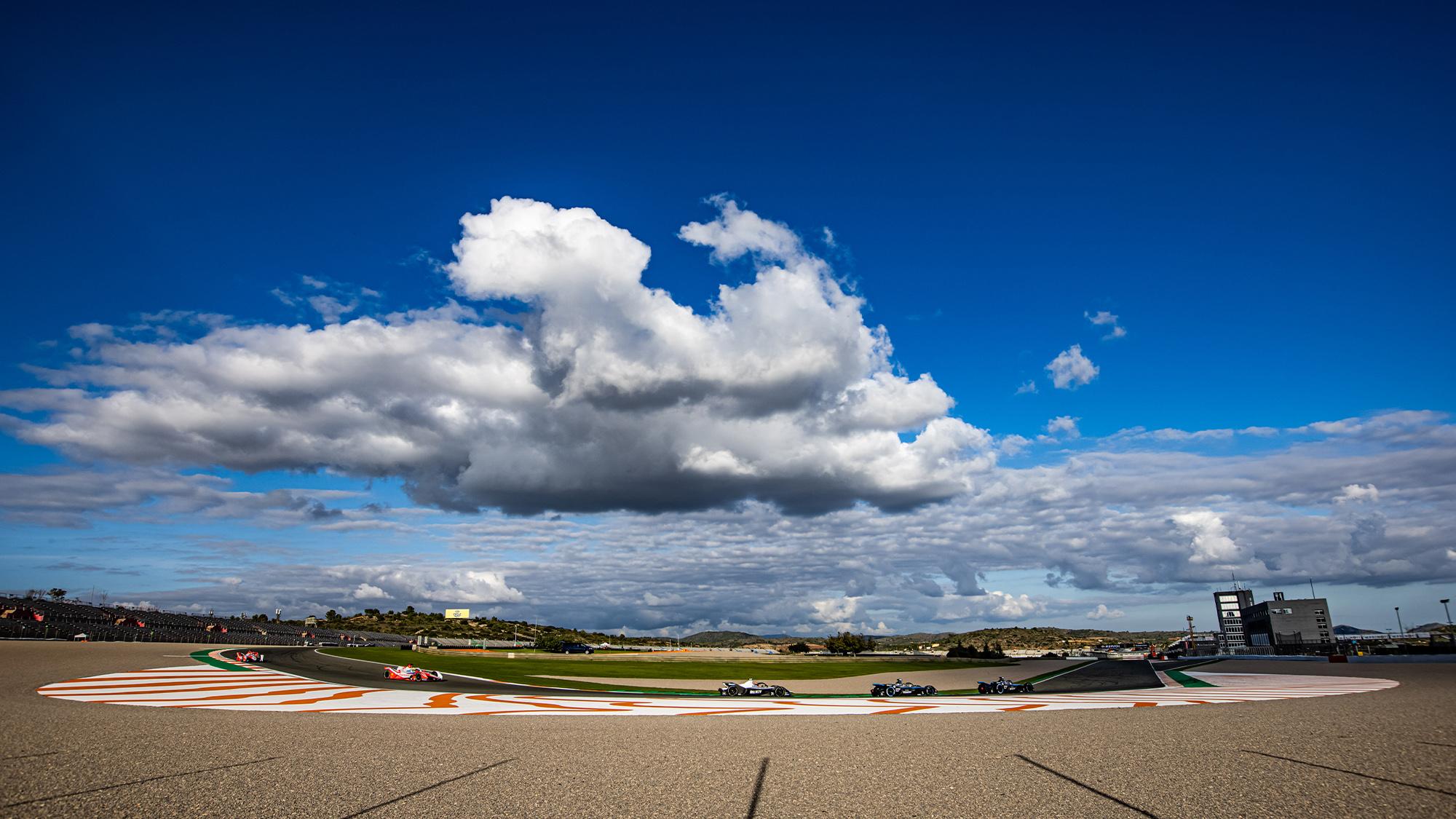 Wide angle of Formula E cars during 2021 Valencia test
