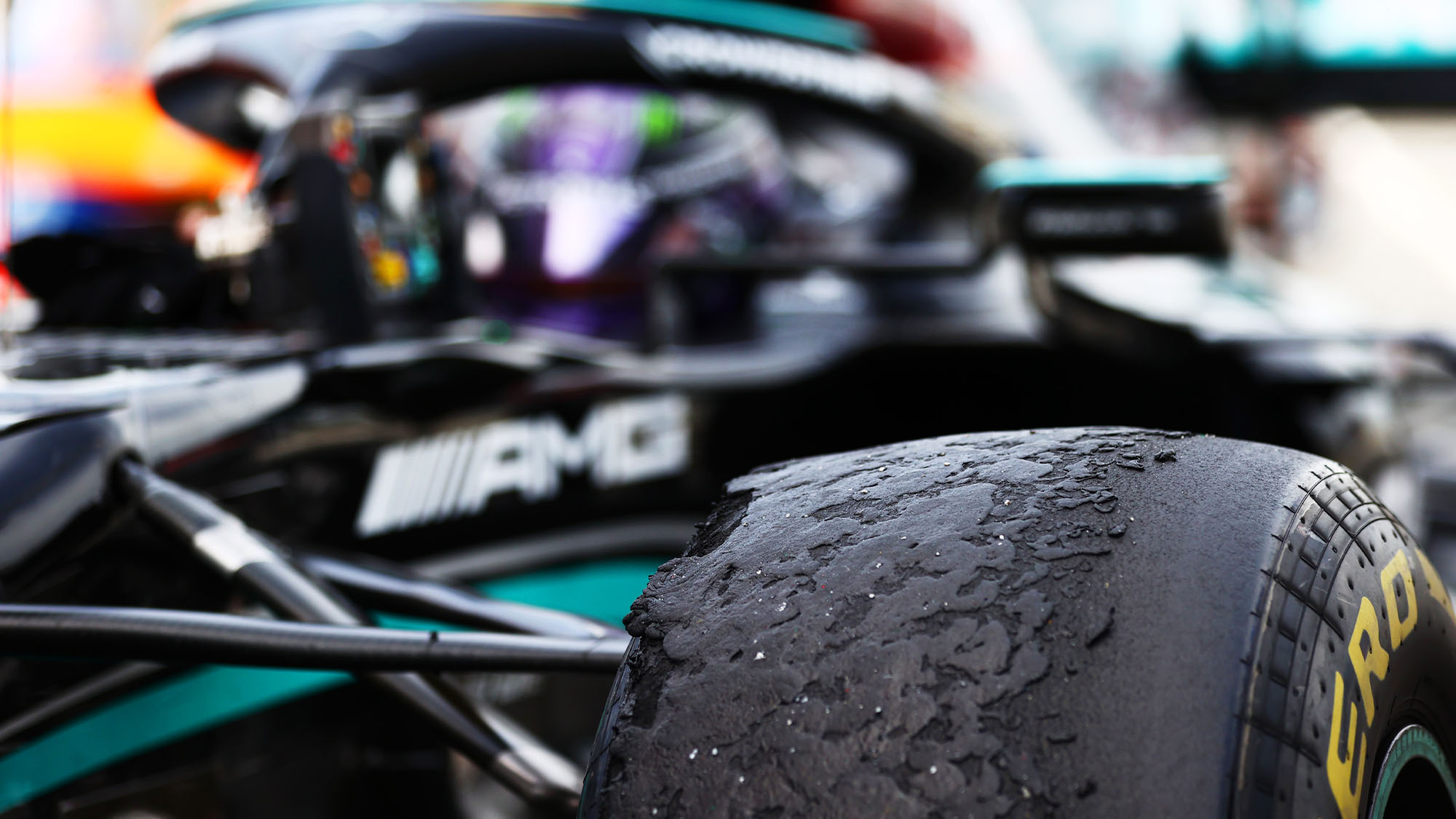 BARCELONA, SPAIN - MAY 09: A detail view of a tyre on the car of Lewis Hamilton of Great Britain and Mercedes AMG Petronas in parc ferme after winning the F1 Grand Prix of Spain at Circuit de Barcelona-Catalunya on May 09, 2021 in Barcelona, Spain. (Photo by Dan Istitene - Formula 1/Formula 1 via Getty Images)