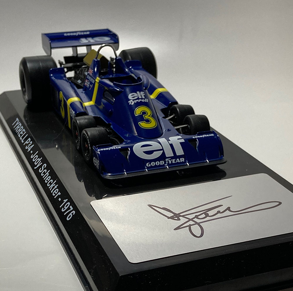 Product image for Jody Scheckter signed Tyrrell P34 six-wheeler, 1:24 scale