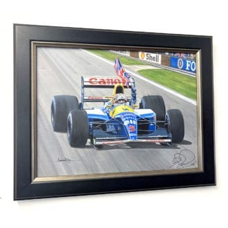 Product image for Nigel Mansell signed Andrew Kitson original -  Williams FW14B 'Victory' painting
