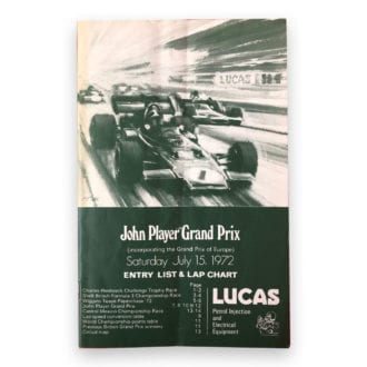Product image for 1972 European Grand Prix Entry List | Signed by Ronnie Peterson, Sir Jackie Stewart, Jacky Ickx, Emerson Fittipaldi & More |