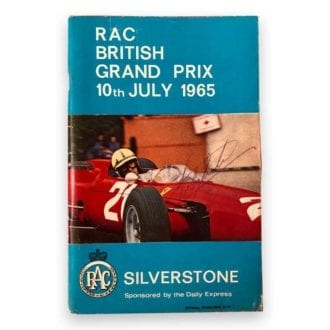 Product image for 1965 RAC British Grand Prix Program | Signed by Jim Clark, John Surtees, Sir Jackie Stewart, Mike Spence and Innes Ireland