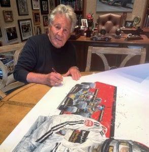 Mario Andretti signing artwork