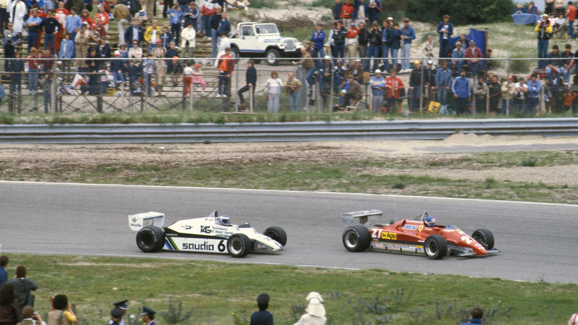 Patrick Tambay leads Keke rosberg in the 1981 Dutch Grand prix