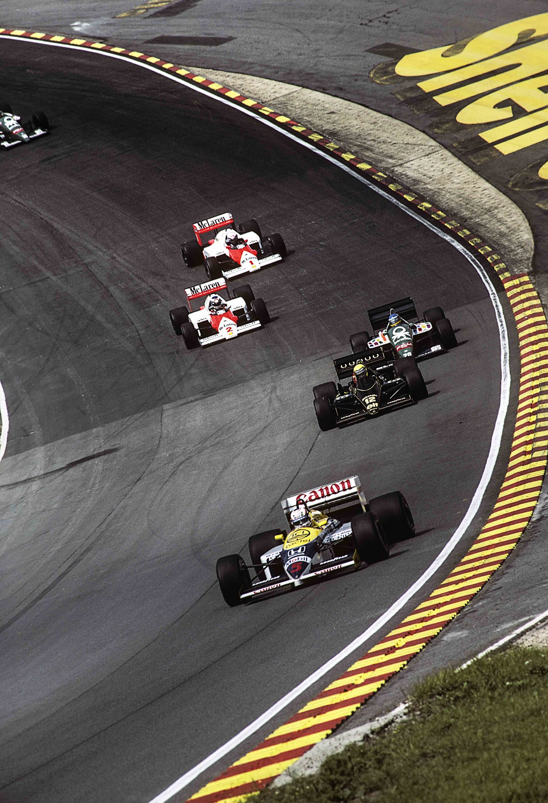 Nigel Mansell, Ayrton Senna, Gerhard Berger, Alain Prost, Keke Rosberg, Grand Prix Of Great Britain