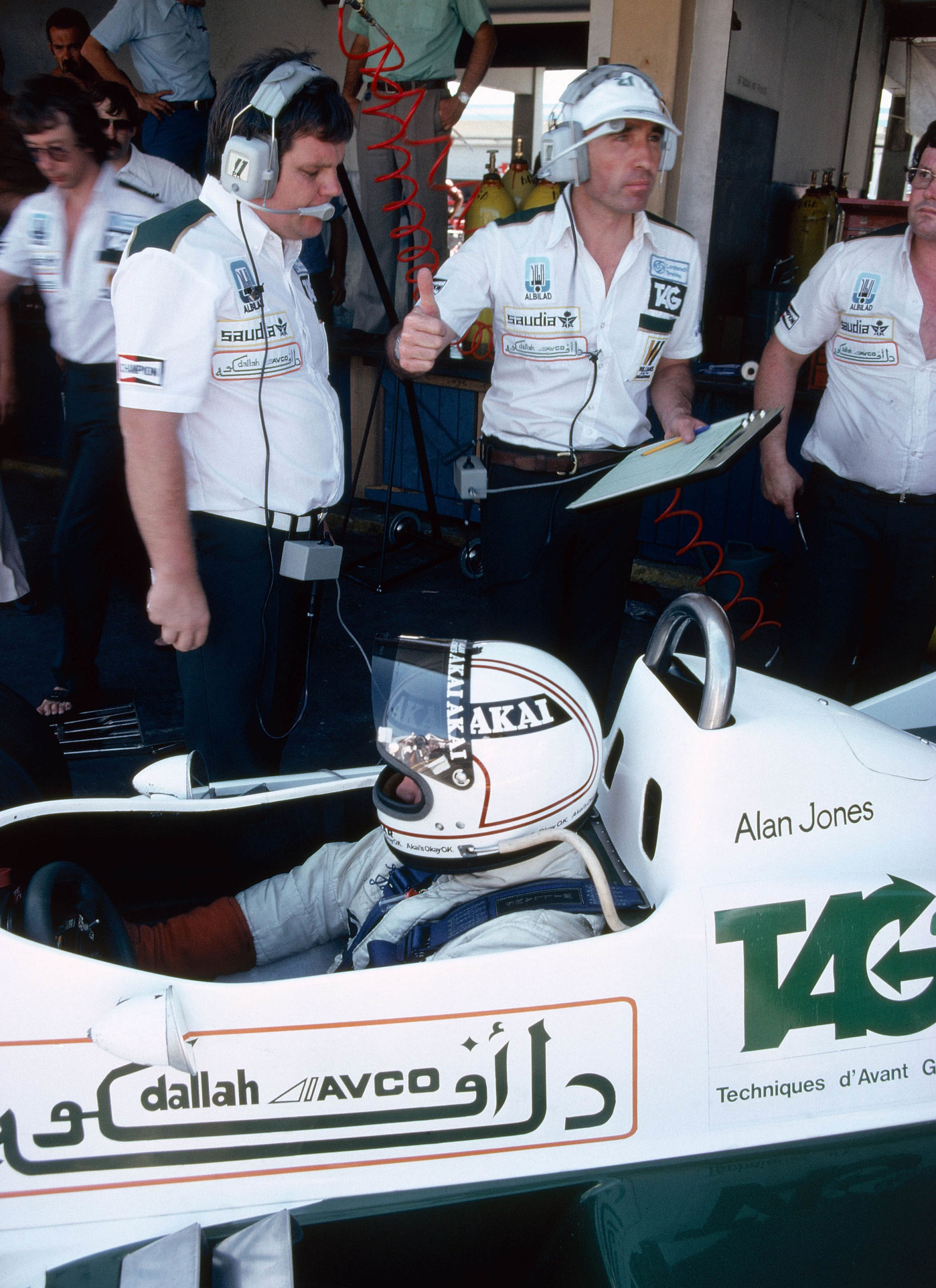 Patrick-Head-Frank-Williams-and-Alan-Jones-at-the-1980-Argentinian-GP