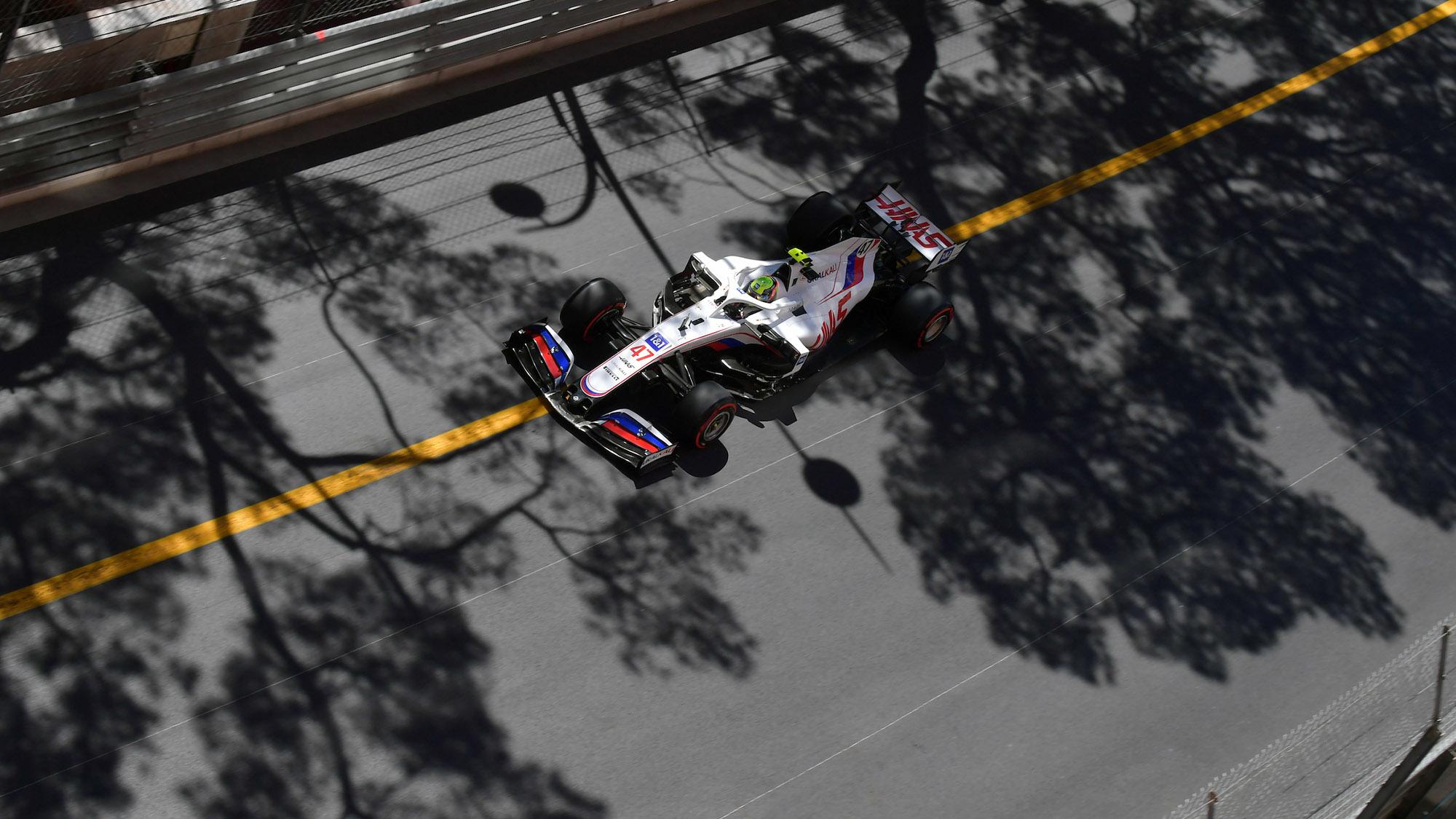 Haas F1 car of Mick Schumacher in Monaco 2021