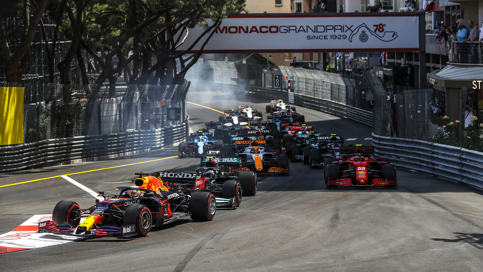 Max Verstappen leads at the start of the 2021 monaco Grand Prix