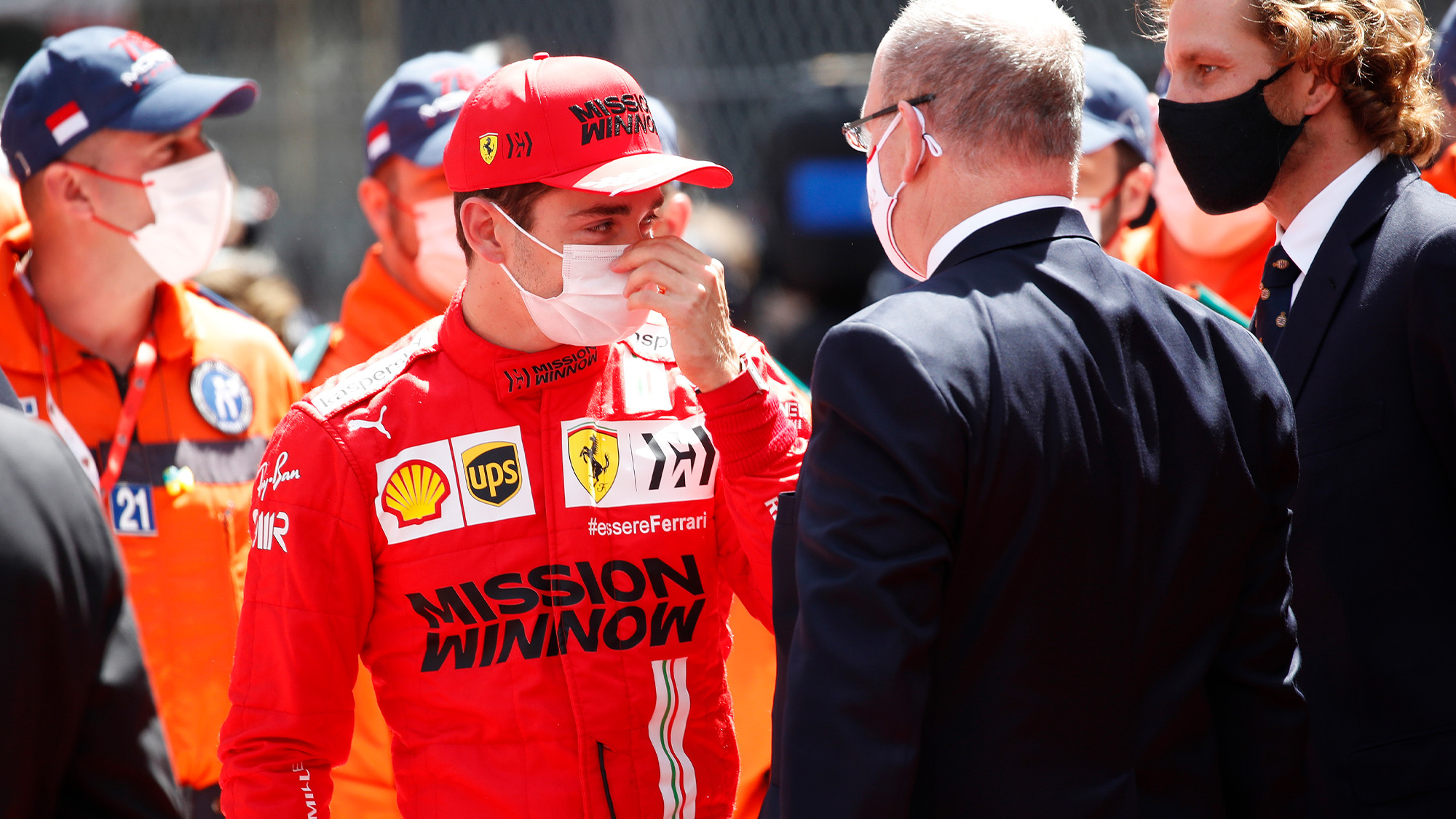 Prince Albert consoles Charles Leclerc after he was unable to start the 2021 Monaco Grand Prix