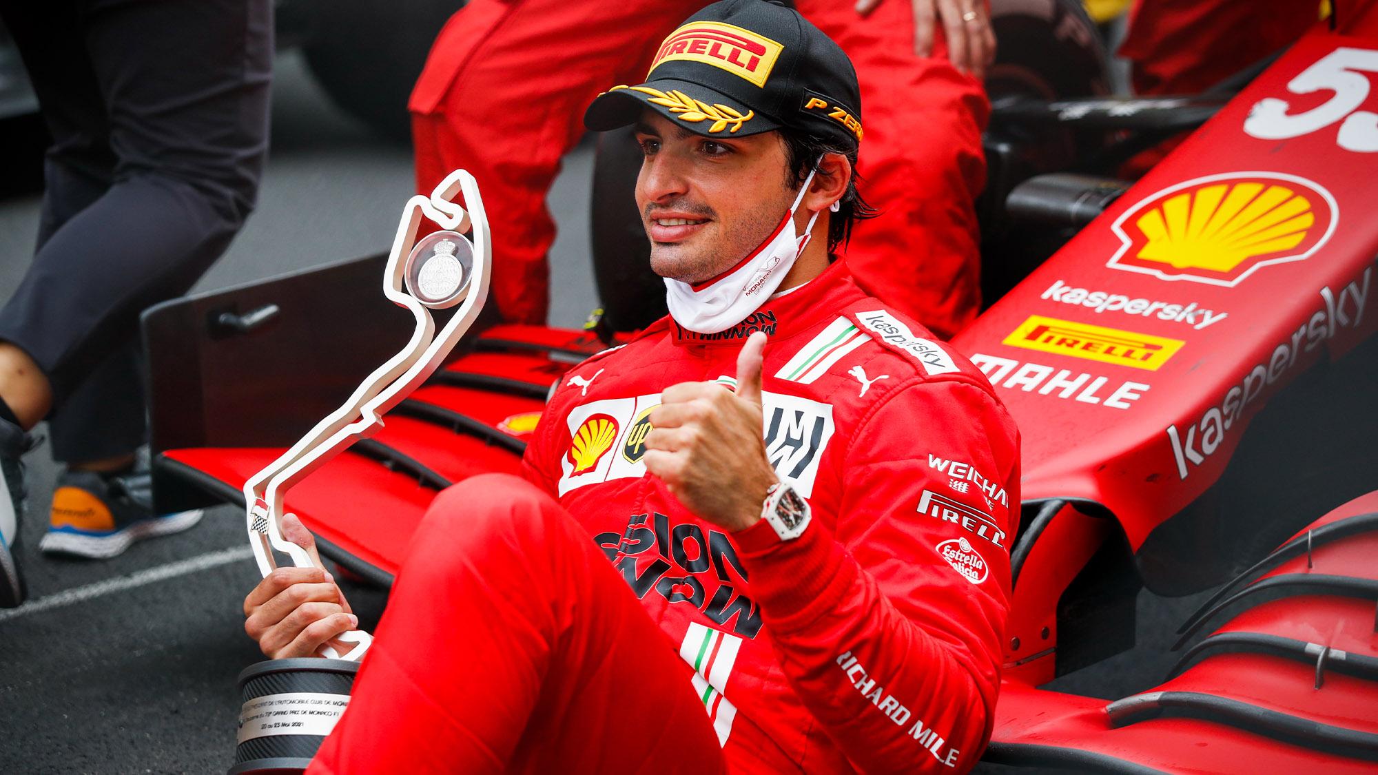 Carlos Sainz celebrates his second place at the 2021 Monaco Grand Prix