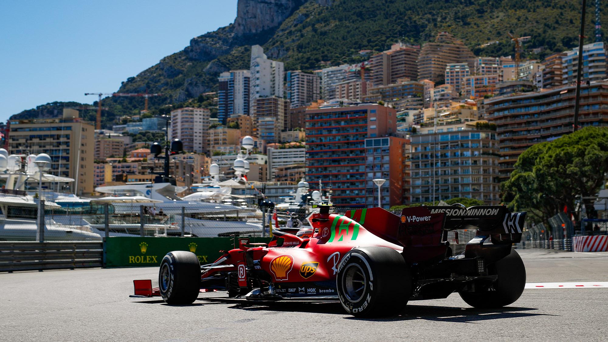 Ferrari of Carlos Sainz during the 2021 Monaco Grand Prix