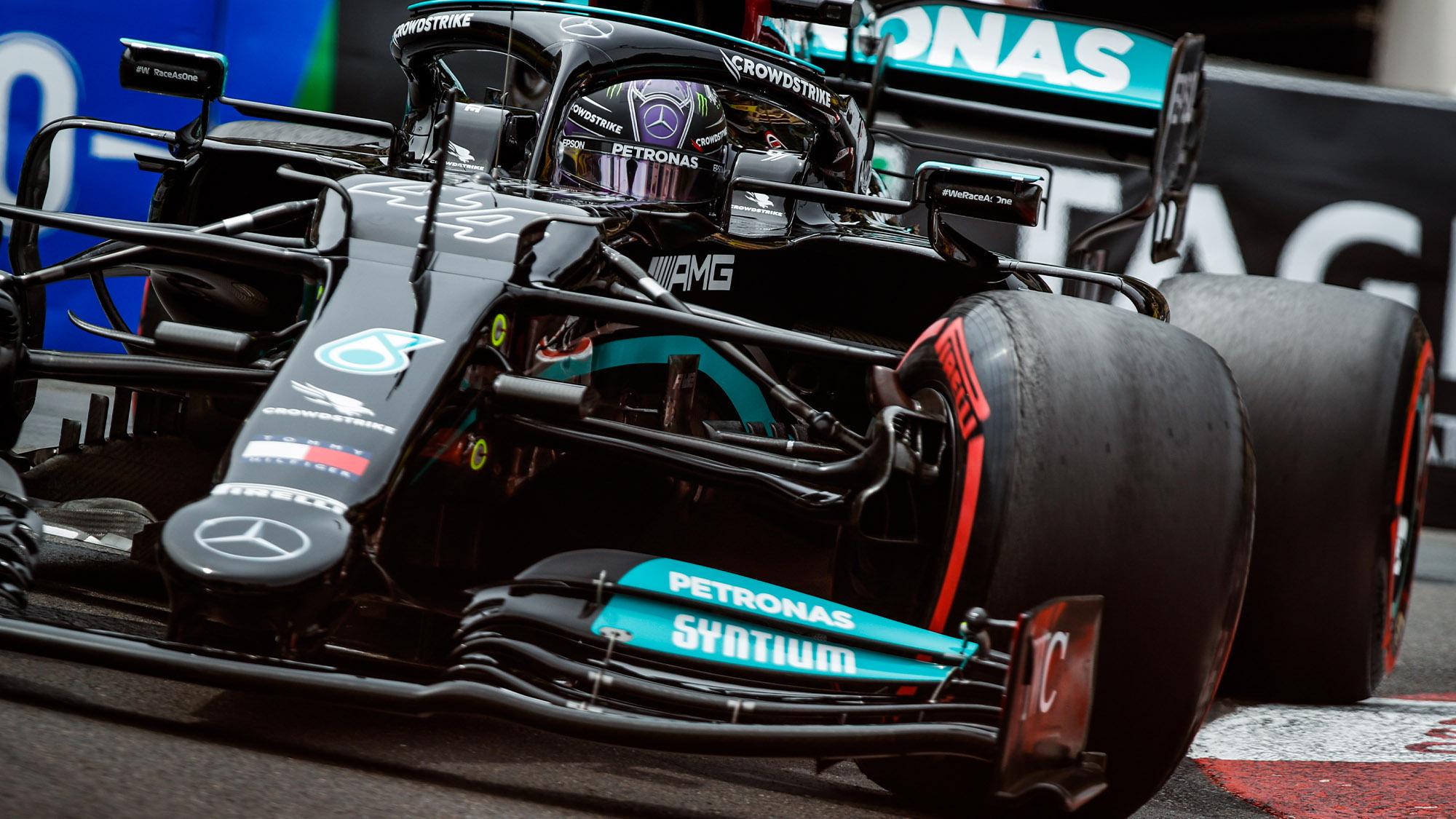 Lewis Hamilton in qualifying for the 2021 Monaco Grand Prix