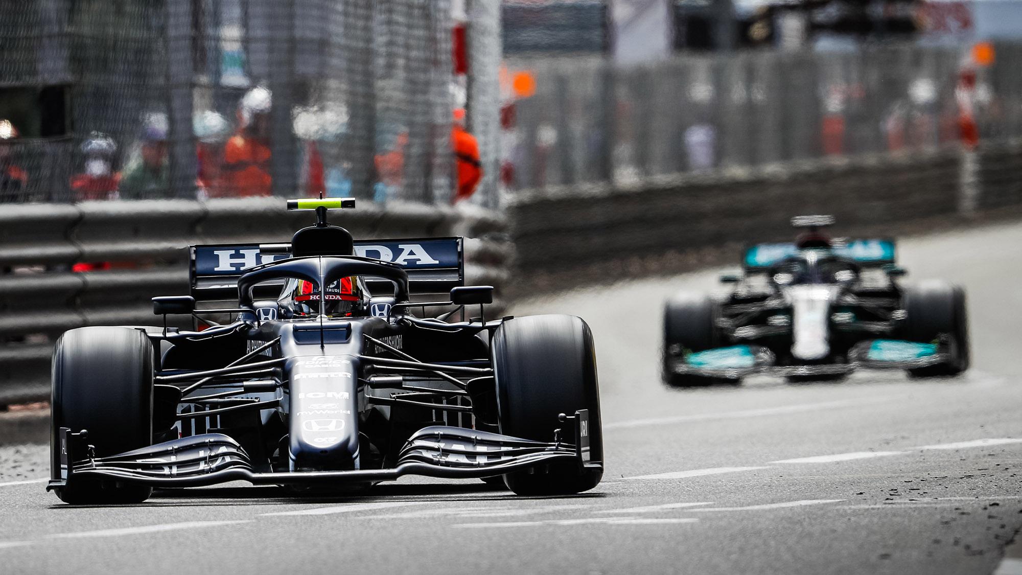 Pierre Gasly leads Lewis Hamilton at the 2021 Monaco Grand Prix