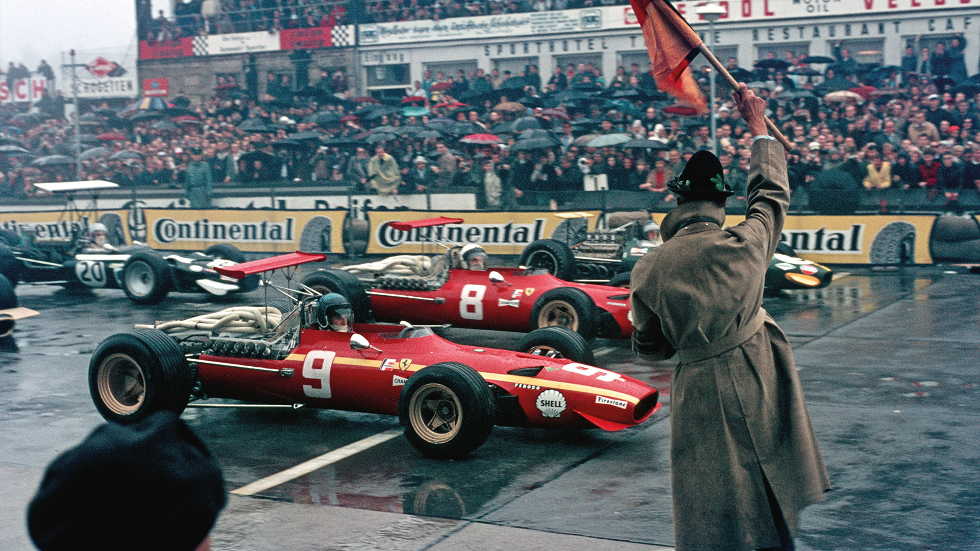 Start of the 1968 German Grand Prix at the Nurburgring