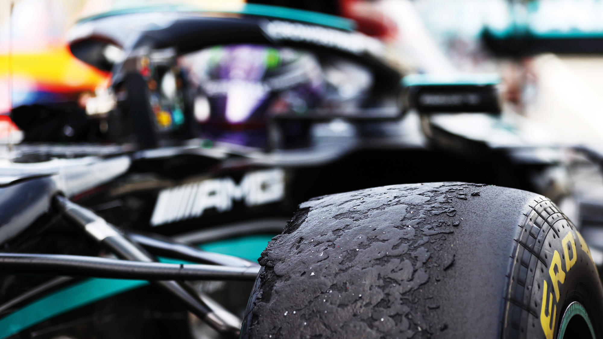 Worn tyres of Lewis Hamiltons Mercedes after the 2021 Spanish Grand Prix