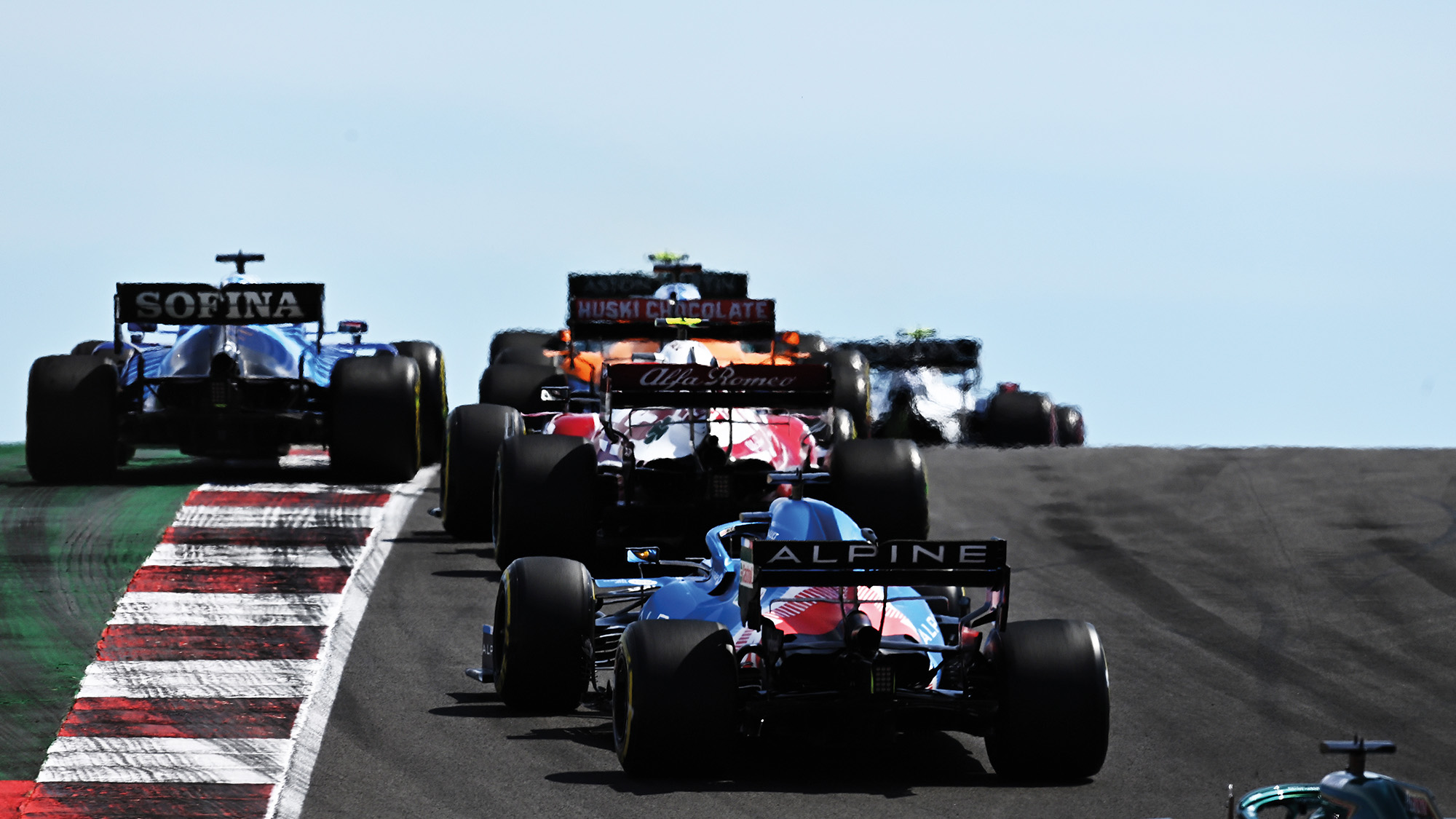 Rear view of cars at the 2021 Portuguese Grand Prix