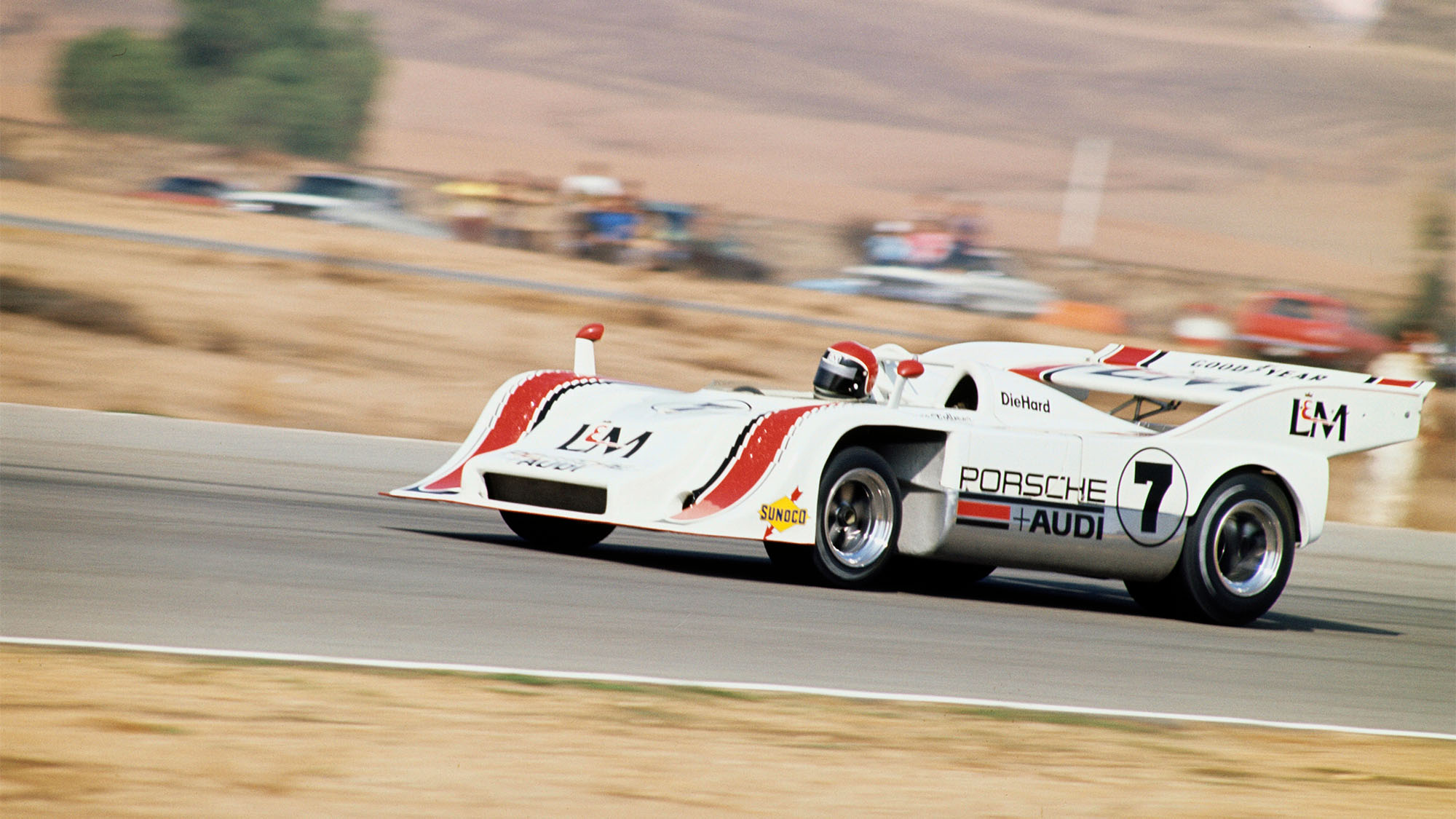 UNITED STATES - NOVEMBER 02: 1972 Times Grand Prix - Riverside - Can-Am. Race winner George Follmer of Penske Racing driving his L&M Porsche-Audi. (Photo by John Lamm/The Enthusiast Network via Getty Images/Getty Images)