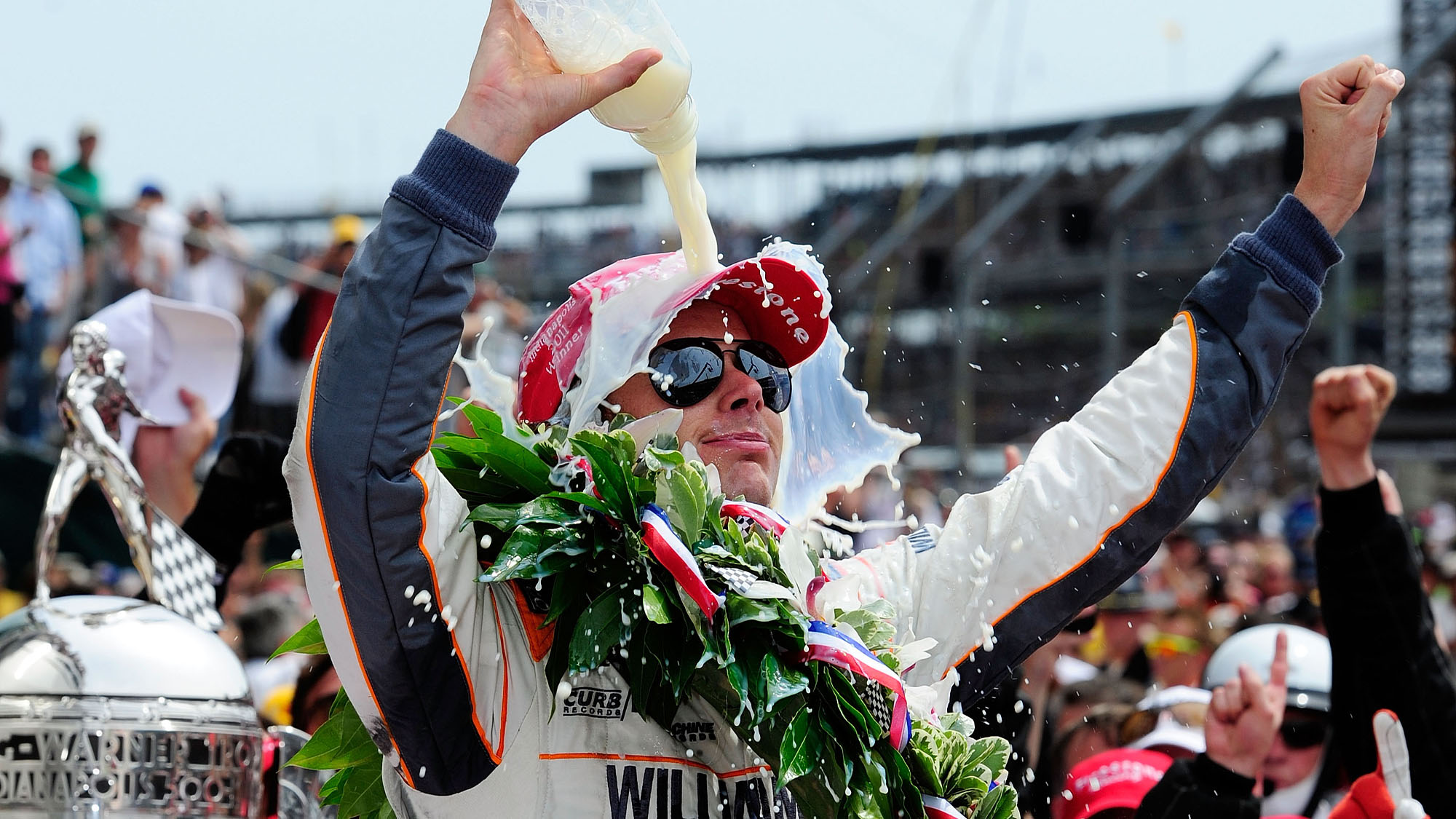 INDIANAPOLIS, IN - MAY 29: Dan Wheldon of England, driver of the #98 William Rast-Curb/Big Machine Dallara Honda, celebrates in victory lane after winning the IZOD IndyCar Series Indianapolis 500 Mile Race at Indianapolis Motor Speedway on May 29, 2011 in Indianapolis, Indiana. (Photo by Robert Laberge/Getty Images)